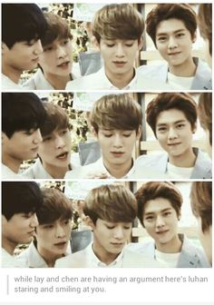 While Lay and Chenchen are having an argument,  here's Luhan staring and smiling at you. ~♡that