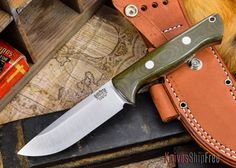 Bark River Knives: Bravo 1 - CPM 3V - Green Canvas Micarta - Rampless