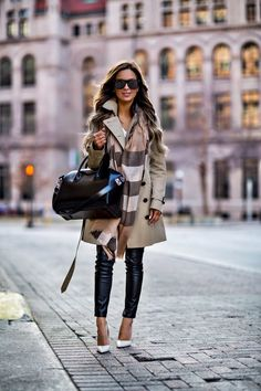 fashion blogger mia mia mine wearing a burberry scarf and a burberry trench coat from nordstrom