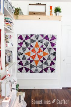 Halloween Medallion Quilt Tutorial // Super fast and super easy kaleidoscope quilt with the use of Marti Michell's Kaleido-Ruler and Benartex fabrics