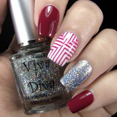 Nail Art by Belegwen: Essence Be Berry Now, Gina Tricot White and Viva La Diva Stardust
