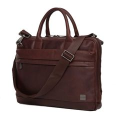 "Foster 15"" Men's Leather Laptop Briefcase - Brown