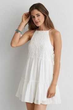 American Eagle Outfitters AEO Embroidered Babydoll Dress