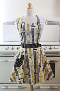 Vintage Style Apron - Atomic Kitchen print