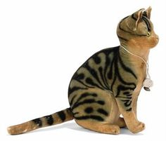Love the stripes! STEIFF SEATED RATTLE CAT, painted striped velvet, yellow and black glass eyes, blank button, circa 1906.