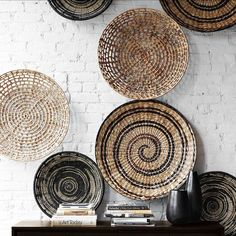 Attractive Handmade Wall Design For Decoration Ideas Artistic White Brick Wicker Plate