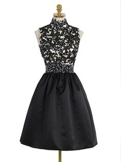 Chic High Neck Open Back Above-Knee Black Homecoming Dress with Lace Sequins