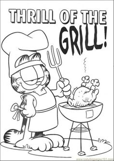thrill of the grill coloring page free garfield coloring pages