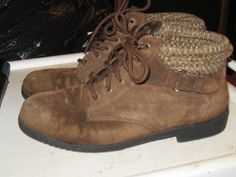 Vintage Women's Brown  Suede Ankle Boots  by Linsvintageboutique, $23.50