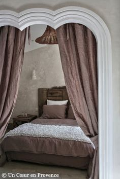 Bedroom Suite to the guesthouse Very Heart Nature, in Provencal Gard, view behind an open alcove