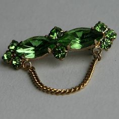 Vintage Czech Peridot Green Rhinestones and Gold Chain by misele, $12.00