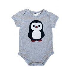 Grey marle penguin print onesie by Milky