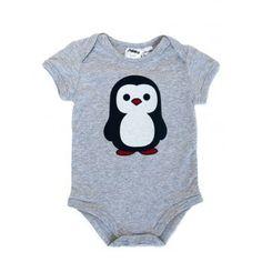 Grey marle penguin print onesie by Milky