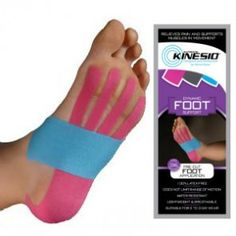 """Precut Kinesio Tape - Foot - Includes one 11"""" blue I-strip and two 10"""" pink fan cuts (enough for two single-use applications (I-strip must be cut in half). Fan-strip is applied along the sole of the foot, while I-strip is applied horizontally across arch of foot."""