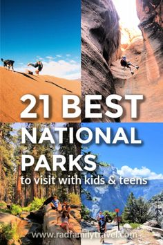 Which are the best national parks for you to visit with kids and teens?Here we've rounded up 21 Best National Parks for outdoor adventures and your next family vacation. We've been to 15 so far -- so we've got you covered! Take a road trip to America's bi Everglades National Park, Grand Teton National Park, California National Parks, Us National Parks, Travel With Kids, Family Travel, Family Vacations, Nationalparks Usa, Monument Valley
