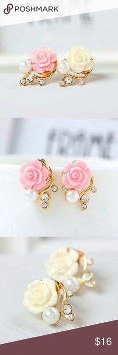 Pink or white rose stud earrings $10 on each earring, choose which color, pick any additional jewelry on my list for just $5 more, let me know so I can set up a bundle of $15! Jewelry Earrings