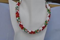 A personal favorite from my Etsy shop https://www.etsy.com/listing/233781349/crochet-beaded-poinsettia-necklace