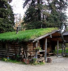 Love the sod roof on this cabin.