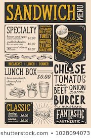 Sandwich Restaurant Menu Vector Food Flyer For Bar And Cafe Design Template With Vintage Hand Drawn I In 2020 Menu Restaurant Sandwich Restaurant Restaurant Graphics