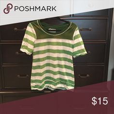 Striped green tee Striped green tee. Soooo comfy! Pair with a pair of skinny jeans and flats or converse for a cute casual look! Free People Tops