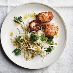 Sea Scallops with Celery Root and Meyer Lemon Salad Recipe Best Scallop Recipe, Scallop Recipes, Lemon Salad Recipe, Salad Recipes, Seafood Recipes, Cooking Recipes, Healthy Recipes, Shellfish Recipes, Paleo Meals