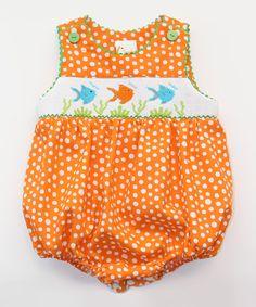 Look at this #zulilyfind! Orange Fish Smocked Bubble Bodysuit - Infant by Smocked Giraffe #zulilyfinds