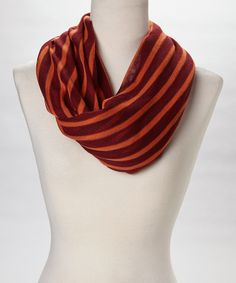 Take a look at this Veond Burgundy & Orange Jolt of Stripe Infinity Scarf on zulily today!