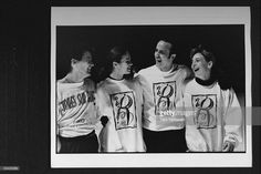 Figure skaters Brian Orser, Katarina Witt, Brian Boitano & Tracy Wilson w. their arms around each other at Skate the Dream, a benefit in memory of figure skater/AIDS victim Rob McCall, which raised money for AIDS research at the Toronto Hospital.