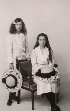 Princesses Nina and Xenia Georgievna, daughters of Grand Duke Georgiy Mikhailovich of Russia.