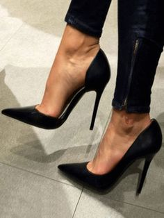 Shoes Black High Heels Women Dress Shoes Satin Pointed Toe Slip On Pumps For Women - Black High Heels Women Dress Shoes Satin Pointed Toe Slip On Pumps For Women Super High Heels, Platform High Heels, Black High Heels, High Heels Stilettos, Stiletto Heels, Women's Pumps, High Heels Schwarz, Frauen In High Heels, Slip On Pumps
