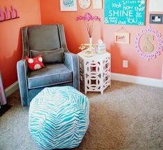A puff makes the perfect ottoman. #nursery
