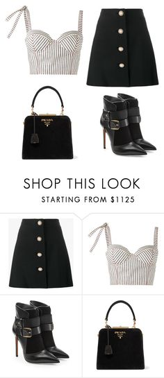"""Untitled #226"" by jovanaaxx on Polyvore featuring Miu Miu, Rosie Assoulin, Balmain and Prada"