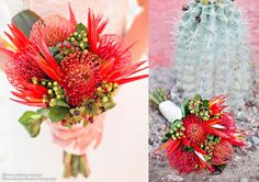 Protea wedding flowers will be popular in 2015 with modern brides that want to make a statement. Proteas are a stunning flower named after the Greek god Proteus. They come in various sizes ranging from the larger grapefruit-sized blooms of the King Protea to the smaller protea buds that are similar to an artichoke bud in shape and texture.