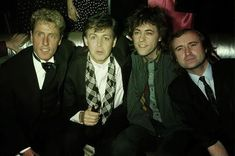 Roger Daltrey (The Who), Paul McCartney (The Beatles, The Wings), Bob Geldof (The Boomtown Rats), and Phil Collins (The Genesis). Paul Mccartney, The Boomtown Rats, Phill Collins, Bob Geldof, Roger Daltrey, Sir Paul, Odd Couples, Eyebrows On Fleek, Band Pictures