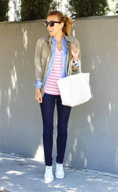 stripes / chambray / utility jacket / skinnies / white Converse