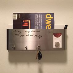 WHITE/Industrial modern stainless steel magnetic dry erase board, mail holder, magazine rack, iPad iPhone holder, key rack home organization by ModShopGirl on Etsy https://www.etsy.com/listing/260695377/whiteindustrial-modern-stainless-steel