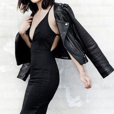 """shefashionista: """" leather jacket black dress """""""