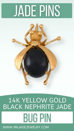 This Mason-Kay designer black nephrite jade bug pin has beautiful gold work and works well for either dress or casual. Use discount code INSTA10JORDAN at checkout! Gold Work, Black Gold, Bugs, Jade, Coding, Yellow, Etsy, Jewellery, Small Businesses