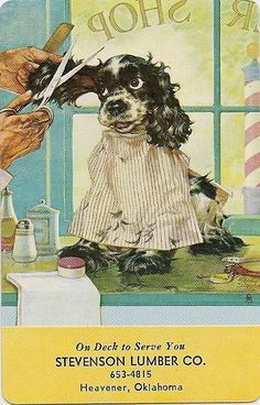 """""""' Ere, 'Ere, Watch My Ear!"""" . . . Swap Playing Cards ~ 1 Single Butch Dog ~ Staehle Haircut"""