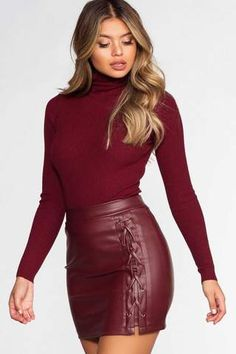 Charlie Lace Up Skirt - Burgundy Skirt Outfits, Sexy Outfits, Cute Outfits, Fashion Outfits, Womens Fashion, Leather Dresses, Leather Skirt, Leather Mini Skirts, Burgundy Outfit