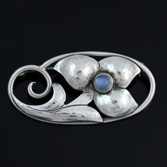 Vintage Georg Jensen Sterling Silver Flower Moonstone Brooch