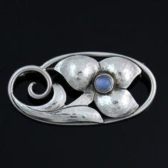 Vintage Georg Jensen Sterling Silver Flower Moonstone Brooch