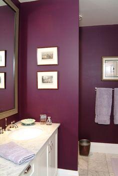 Plum Purple bathroom from interior design project by Jane Hall Design.
