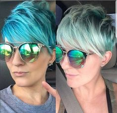 Turquoise blue pixie haircut with glasses - Haircutsbest. Pixie Hairstyles, Pixie Haircut, Haircut Short, Hair Day, My Hair, Short Hair Cuts, Short Hair Styles, Cute Pixie Cuts, Great Cuts