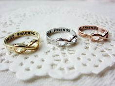 Best Friends Lettered Infinity Ring 3 Color by SEMOstories on Etsy, $12.50