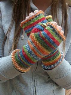 Fingerless gloves striped wool handknit  Kandinsky by burnybunch, $34.00