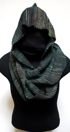 Handwoven saori inspired hooded infinity scarf.