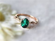 Hey, I found this really awesome Etsy listing at https://www.etsy.com/listing/221561933/6x8mm-oval-emerald-ring-engagement-ring
