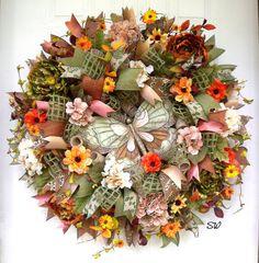 Fall  Wreath-Deco Mesh Wreath-Tuscan WreathSage by SeasonalWreaths