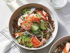 This Salmon and Lentil Bowl With Kefir Dressing Makes a Hearty Lunch or Dinner | Savory lentils, a creamy fresh herb dressing, sweet fennel, and salty smoked salmon come together in just a few minutes to create a satisfying yet light main dish salad. Look for ready-to-eat steamed lentils with other prepared foods in the refrigerated produce section. Plain kefir—pourable, probiotic-rich cultured milk—adds a super-tangy element to the dressing with fewer calories than sour cream.